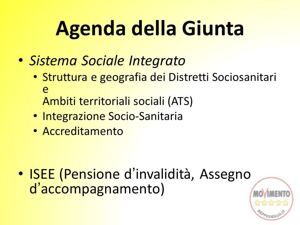 Agenda della Giunta Sistema Sociale Integrato Struttura e geografia dei Distretti Sociosanitari e Ambiti territoriali sociali (ATS) Integrazione Socio-Sanitaria Accreditamento ISEE (Pensione d'invalidità, Assegno d'accompagnamento)