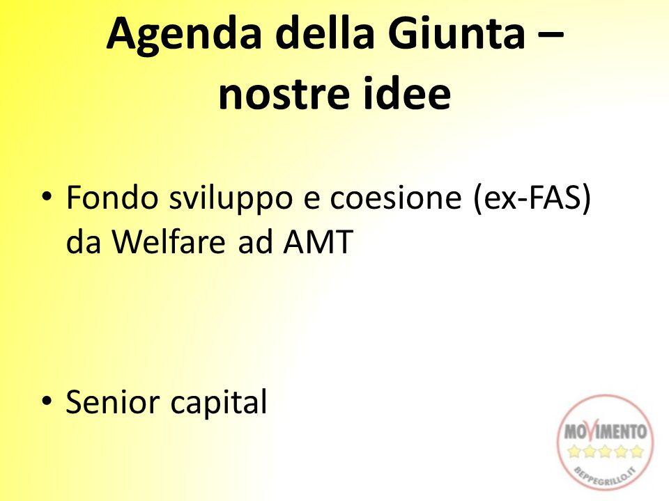 Agenda della Giunta – nostre idee Fondo sviluppo e coesione (ex-FAS) da Welfare ad AMT Senior capital
