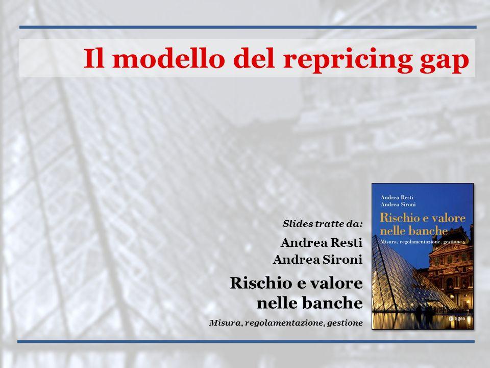 Slides tratte da: Andrea Resti Andrea Sironi Rischio e valore nelle banche Misura, regolamentazione, gestione Il modello del repricing gap