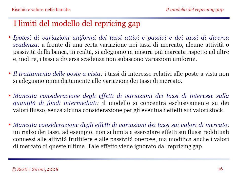 Rischio e valore nelle bancheIl modello del repricing gap 16 I limiti del modello del repricing gap Ipotesi di variazioni uniformi dei tassi attivi e
