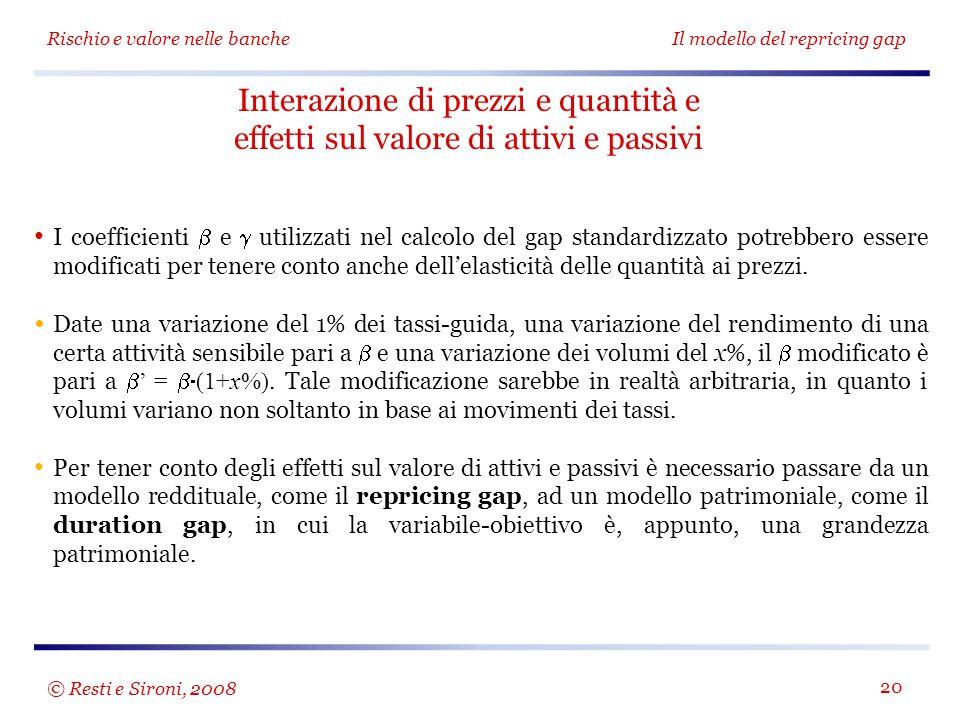 Rischio e valore nelle bancheIl modello del repricing gap 20 Interazione di prezzi e quantità e effetti sul valore di attivi e passivi I coefficienti
