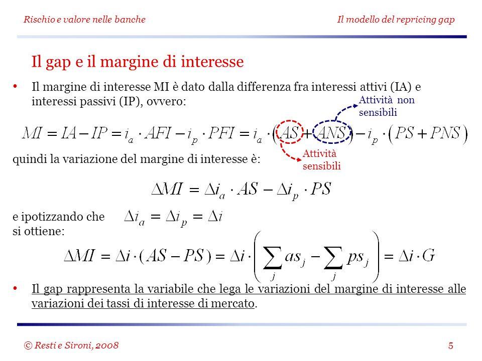 Il margine di interesse MI è dato dalla differenza fra interessi attivi (IA) e interessi passivi (IP), ovvero: quindi la variazione del margine di int
