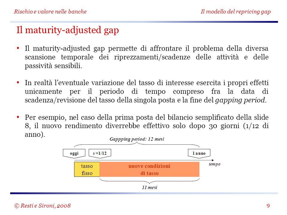 Rischio e valore nelle bancheIl modello del repricing gap 9 Il maturity-adjusted gap Il maturity-adjusted gap permette di affrontare il problema della