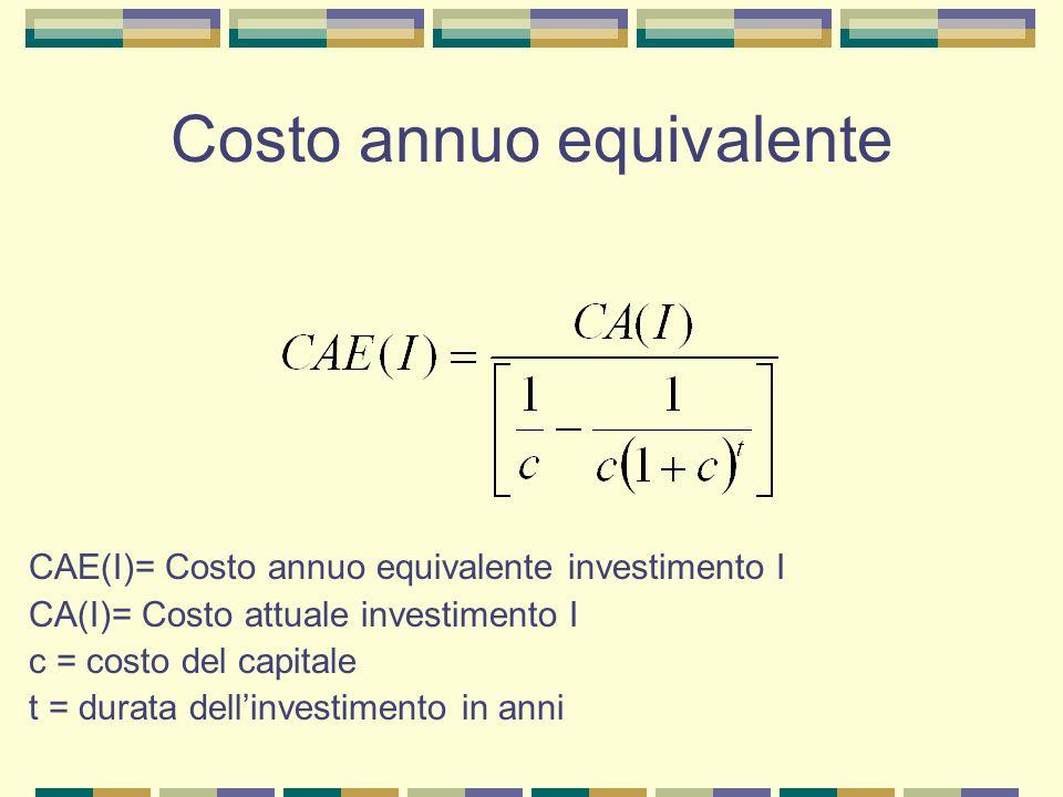 Costo annuo equivalente CAE(I)= Costo annuo equivalente investimento I CA(I)= Costo attuale investimento I c = costo del capitale t = durata dell'investimento in anni