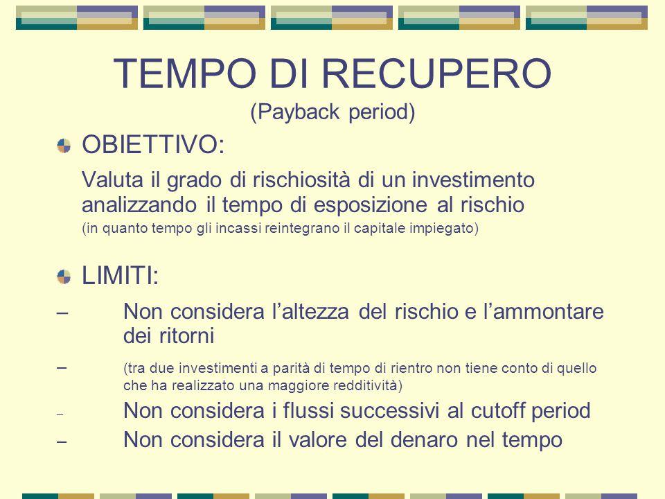 TEMPO DI RECUPERO (Payback period) OBIETTIVO: Valuta il grado di rischiosità di un investimento analizzando il tempo di esposizione al rischio (in qua