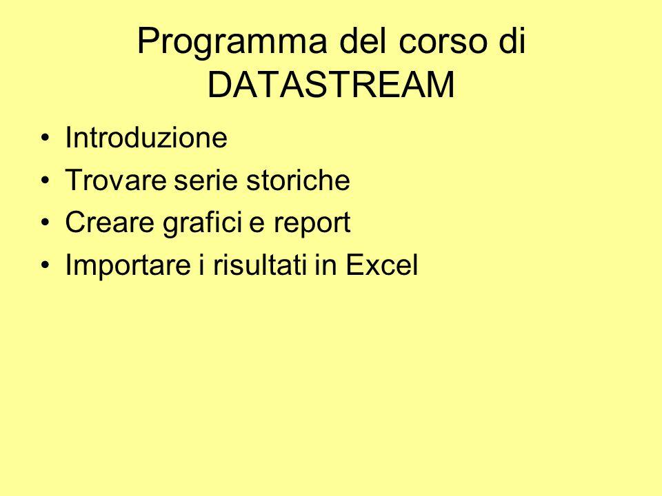 Download in Excel Richiesta di dati statici I dati statici possono essere scaricati per un numero definito di serie e per un intervallo di tempo predefinito.