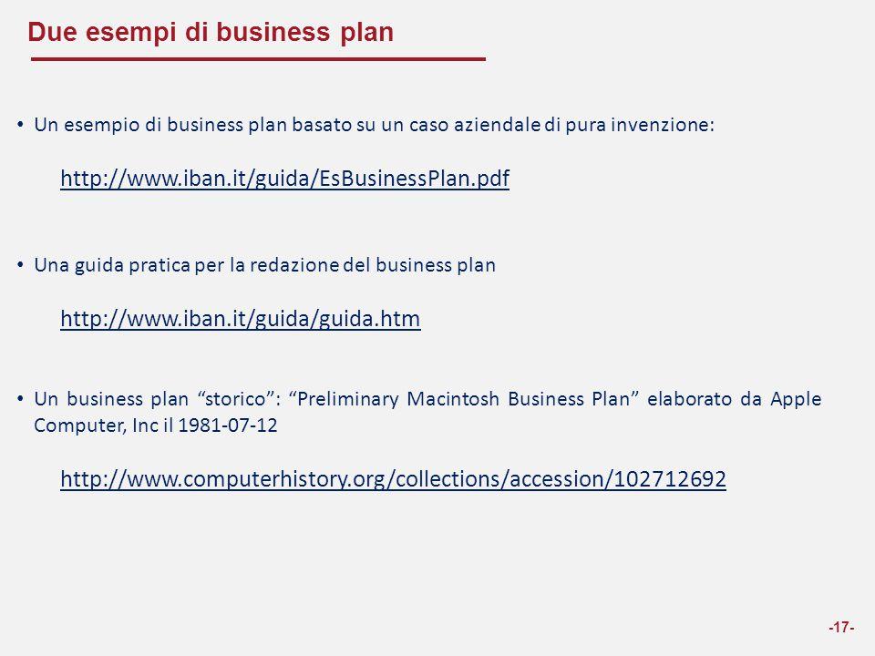 Due esempi di business plan -17- Un esempio di business plan basato su un caso aziendale di pura invenzione: http://www.iban.it/guida/EsBusinessPlan.p