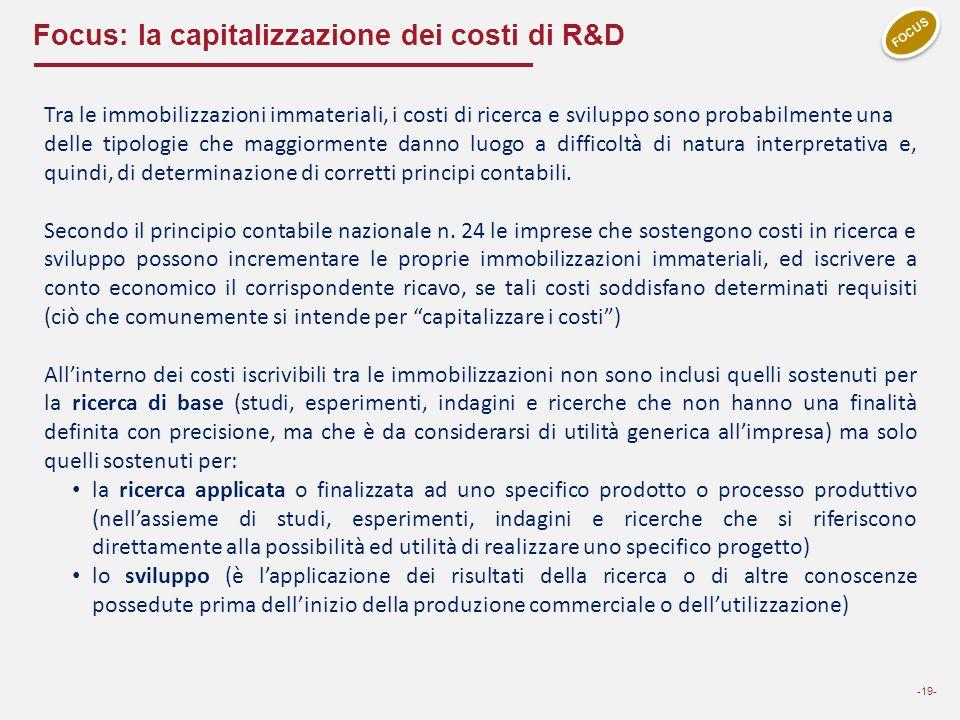 Focus: la capitalizzazione dei costi di R&D -19- FOCUS Tra le immobilizzazioni immateriali, i costi di ricerca e sviluppo sono probabilmente una delle