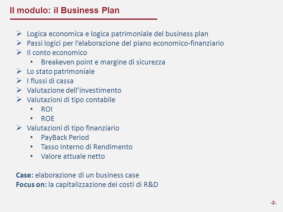 II modulo: il Business Plan  Logica economica e logica patrimoniale del business plan  Passi logici per l'elaborazione del piano economico-finanziar