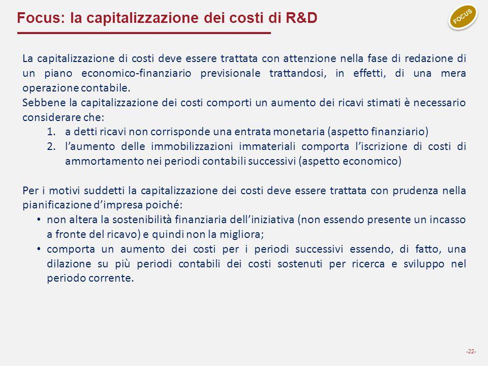 Focus: la capitalizzazione dei costi di R&D -22- FOCUS La capitalizzazione di costi deve essere trattata con attenzione nella fase di redazione di un
