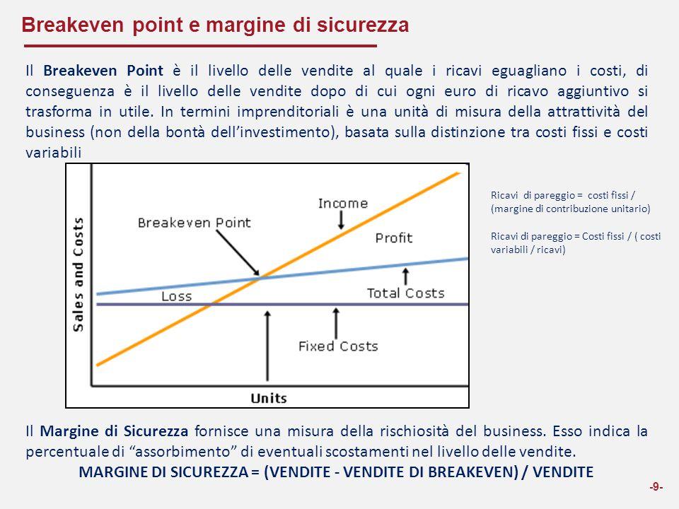 Breakeven point e margine di sicurezza -9- Il Breakeven Point è il livello delle vendite al quale i ricavi eguagliano i costi, di conseguenza è il liv