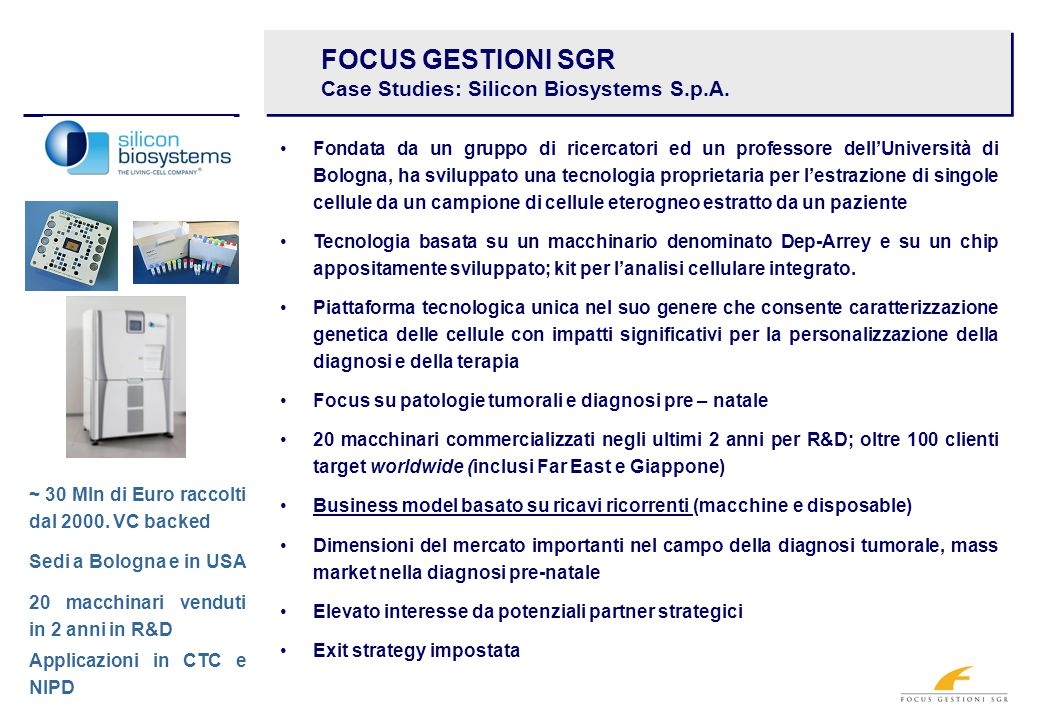 FOCUS GESTIONI SGR Case Studies: Silicon Biosystems S.p.A.