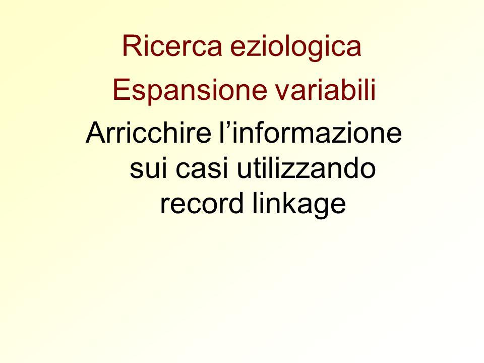Ricerca eziologica Espansione variabili Arricchire l'informazione sui casi utilizzando record linkage