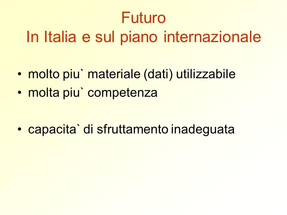 Futuro In Italia e sul piano internazionale molto piu` materiale (dati) utilizzabile molta piu` competenza capacita` di sfruttamento inadeguata