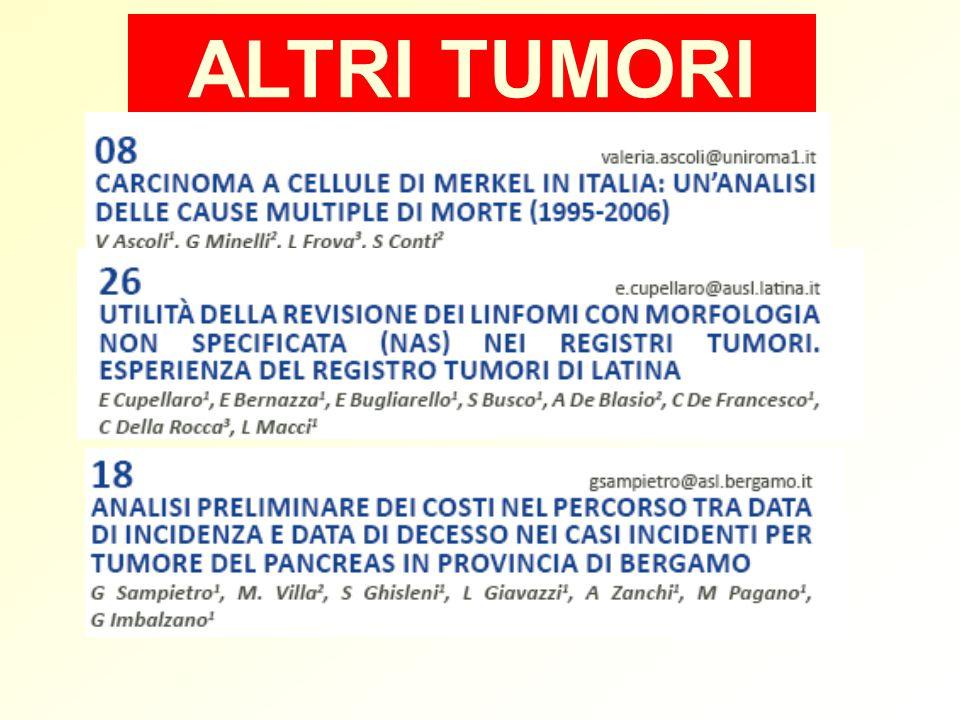 Dati: - RTIP coorte sopravvissuti almeno 5 anni, incidenti 1970-2005 - 1959 soggetti - follow-up: 5-35 anni SDO 1996-2003 ICD9 425= miocarditi Questionari ai medici curanti Resultati: 7 casi SDO (1 medico) 2 casi medici (1 SDO) Patologia cardiaca in lungosopravviventi a tumore in eta` pediatrica coorte Registro Tumpro Infantili Piemonte