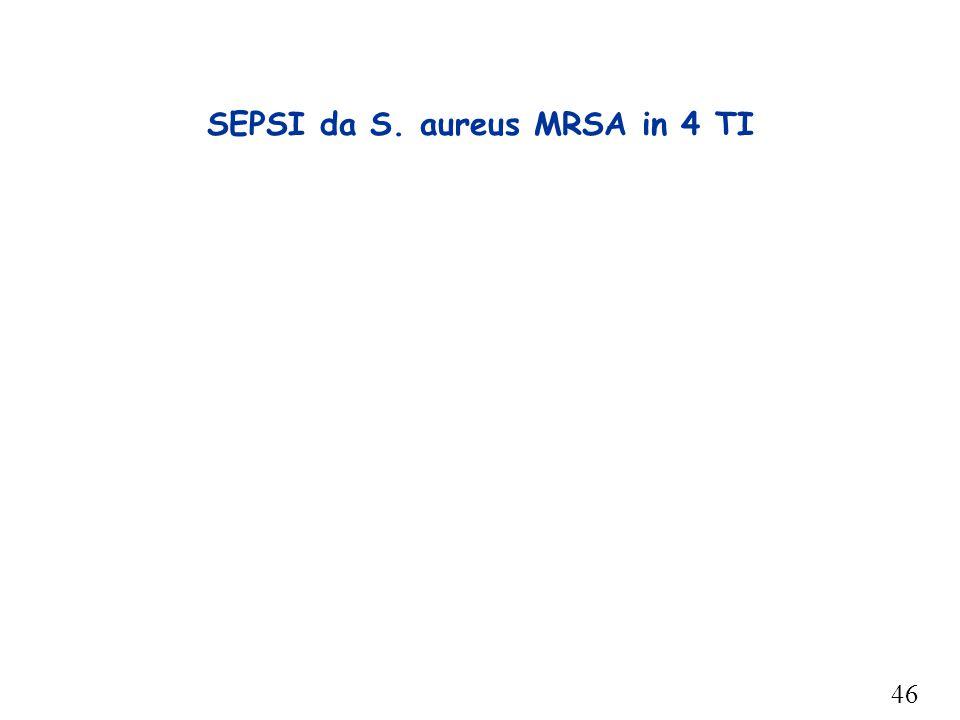 46 SEPSI da S. aureus MRSA in 4 TI