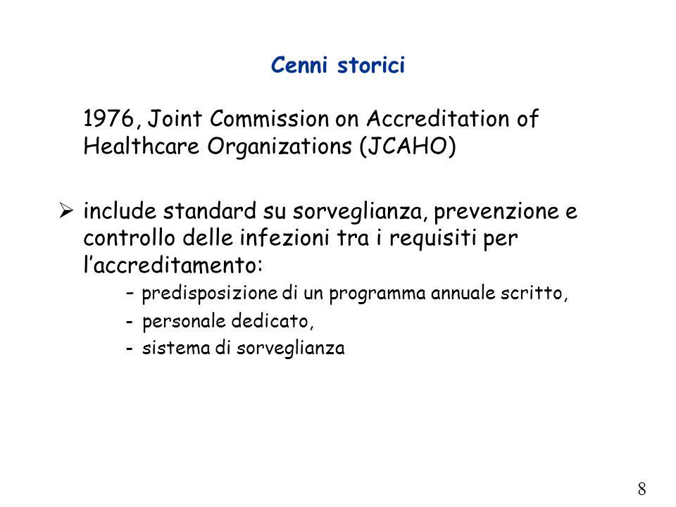 8 Cenni storici 1976, Joint Commission on Accreditation of Healthcare Organizations (JCAHO)  include standard su sorveglianza, prevenzione e controll