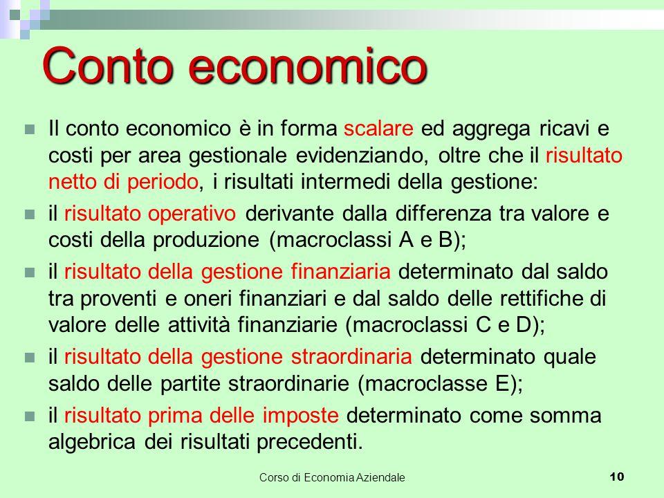 10 Conto economico Il conto economico è in forma scalare ed aggrega ricavi e costi per area gestionale evidenziando, oltre che il risultato netto di p
