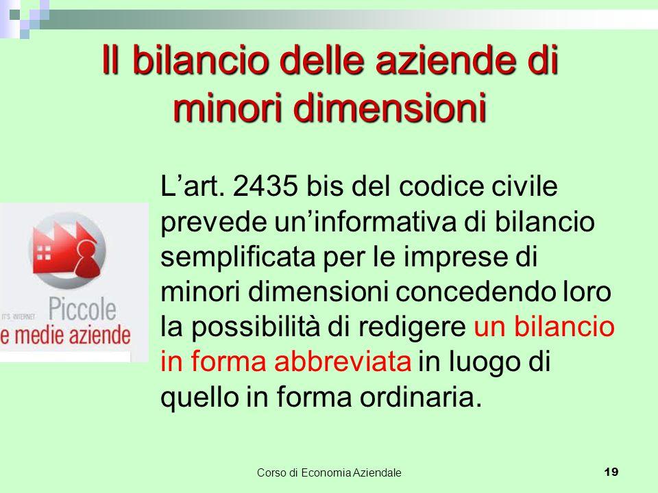 L'art. 2435 bis del codice civile prevede un'informativa di bilancio semplificata per le imprese di minori dimensioni concedendo loro la possibilità d