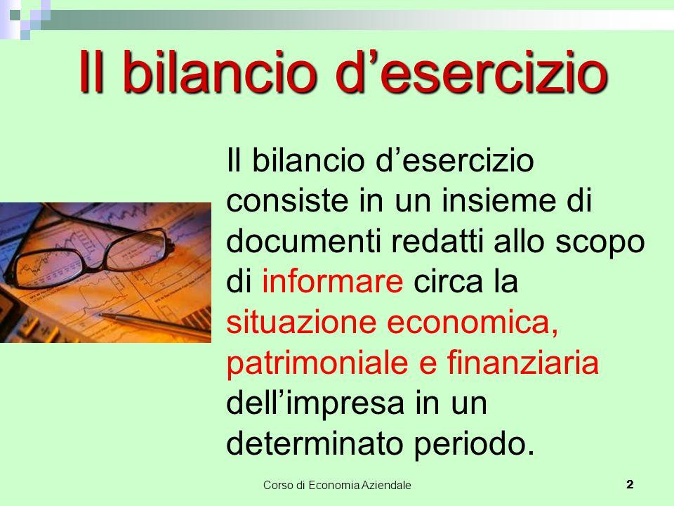 Corso di Economia Aziendale 2 Il bilancio d'esercizio Il bilancio d'esercizio consiste in un insieme di documenti redatti allo scopo di informare circ