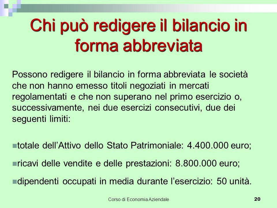 Chi può redigere il bilancio in forma abbreviata Possono redigere il bilancio in forma abbreviata le società che non hanno emesso titoli negoziati in