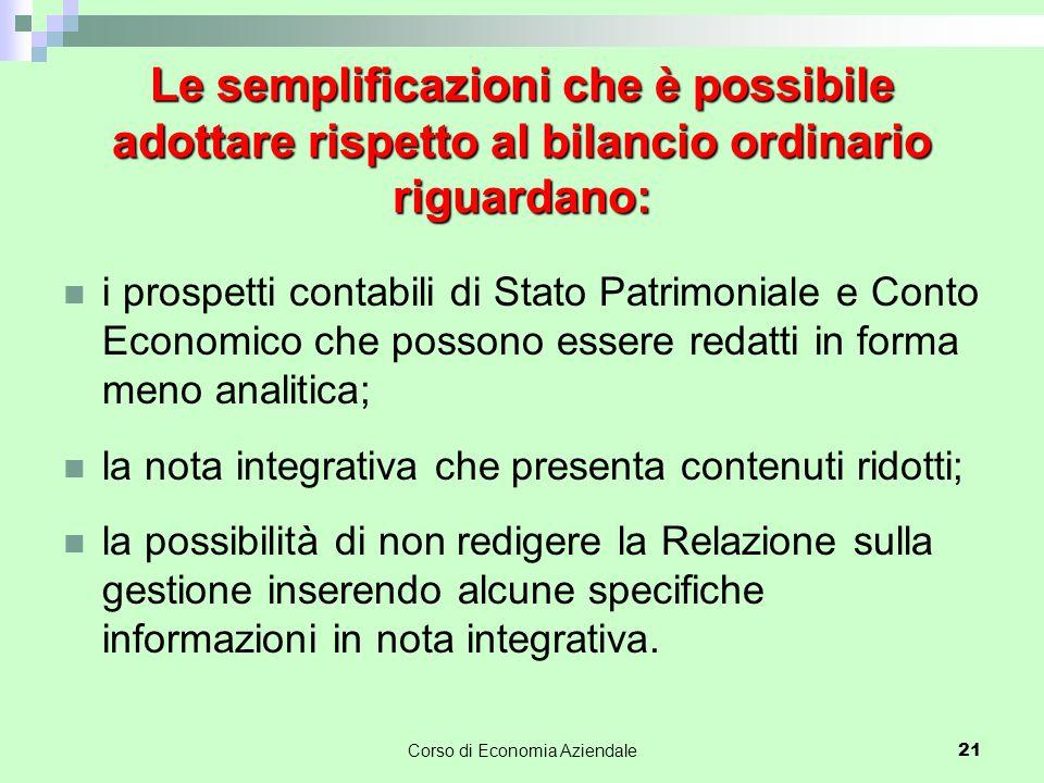 Le semplificazioni che è possibile adottare rispetto al bilancio ordinario riguardano: i prospetti contabili di Stato Patrimoniale e Conto Economico c