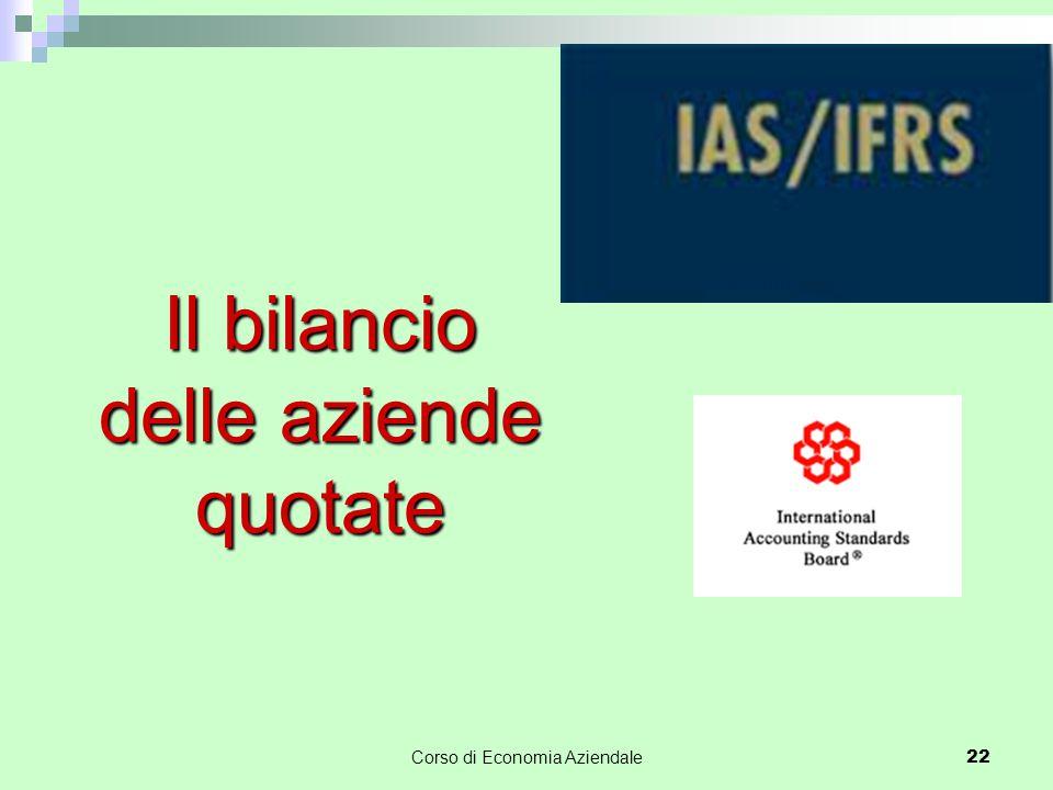 Corso di Economia Aziendale 22 Il bilancio delle aziende quotate