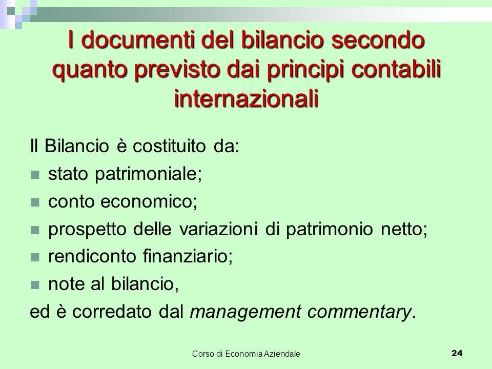 I documenti del bilancio secondo quanto previsto dai principi contabili internazionali Il Bilancio è costituito da: stato patrimoniale; conto economic