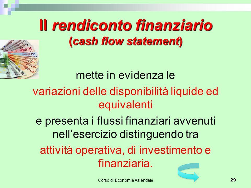 Il rendiconto finanziario (cash flow statement) mette in evidenza le variazioni delle disponibilità liquide ed equivalenti e presenta i flussi finanzi