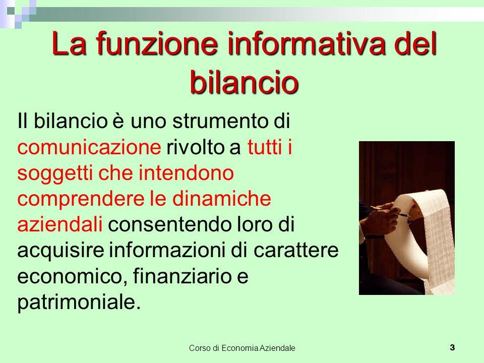 Corso di Economia Aziendale 3 La funzione informativa del bilancio Il bilancio è uno strumento di comunicazione rivolto a tutti i soggetti che intendo