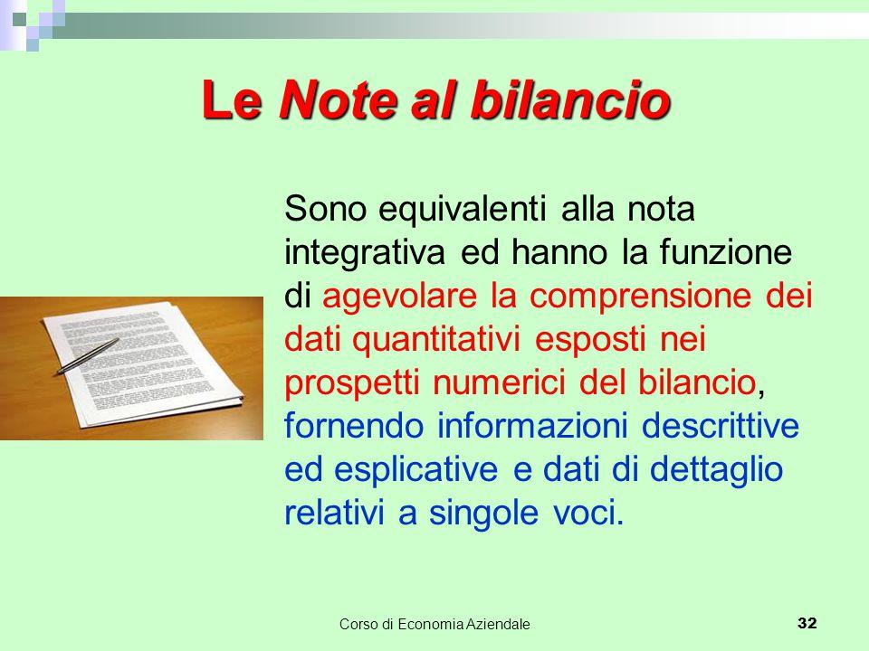 Le Note al bilancio Sono equivalenti alla nota integrativa ed hanno la funzione di agevolare la comprensione dei dati quantitativi esposti nei prospet