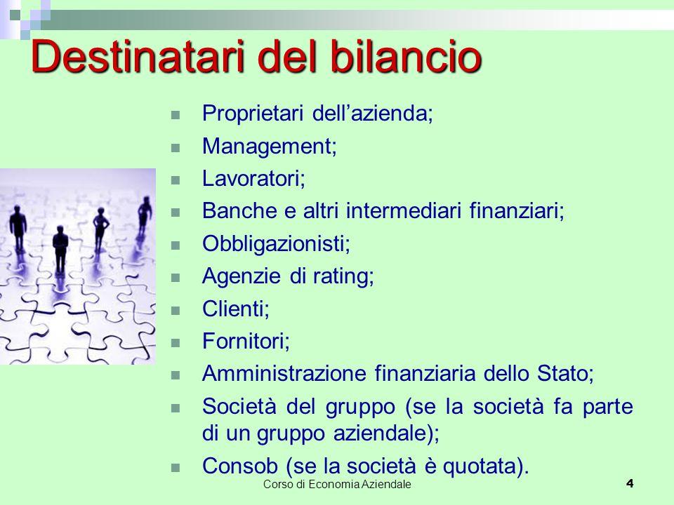 Corso di Economia Aziendale 4 Proprietari dell'azienda; Management; Lavoratori; Banche e altri intermediari finanziari; Obbligazionisti; Agenzie di ra