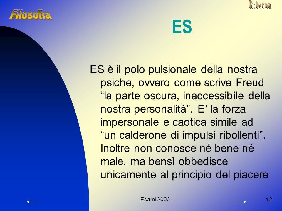 """Esami 200312 ES ES è il polo pulsionale della nostra psiche, ovvero come scrive Freud """"la parte oscura, inaccessibile della nostra personalità"""". E' la"""