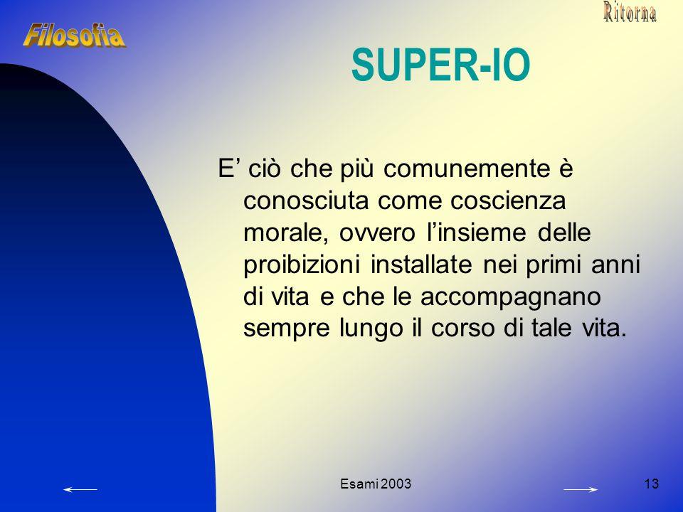 Esami 200313 SUPER-IO E' ciò che più comunemente è conosciuta come coscienza morale, ovvero l'insieme delle proibizioni installate nei primi anni di vita e che le accompagnano sempre lungo il corso di tale vita.