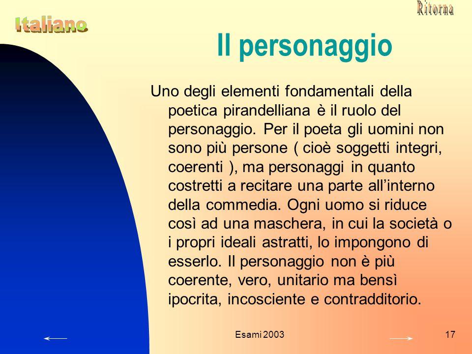 Esami 200317 Il personaggio Uno degli elementi fondamentali della poetica pirandelliana è il ruolo del personaggio. Per il poeta gli uomini non sono p