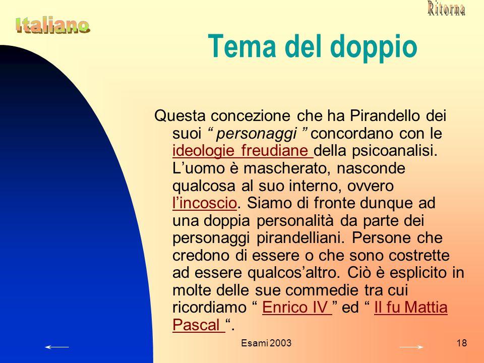"""Esami 200318 Tema del doppio Questa concezione che ha Pirandello dei suoi """" personaggi """" concordano con le ideologie freudiane della psicoanalisi. L'u"""