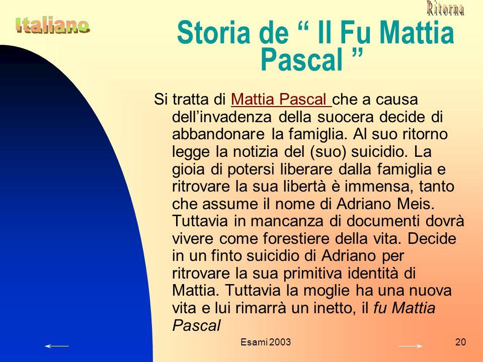 Esami 200320 Storia de Il Fu Mattia Pascal Si tratta di Mattia Pascal che a causa dell'invadenza della suocera decide di abbandonare la famiglia.