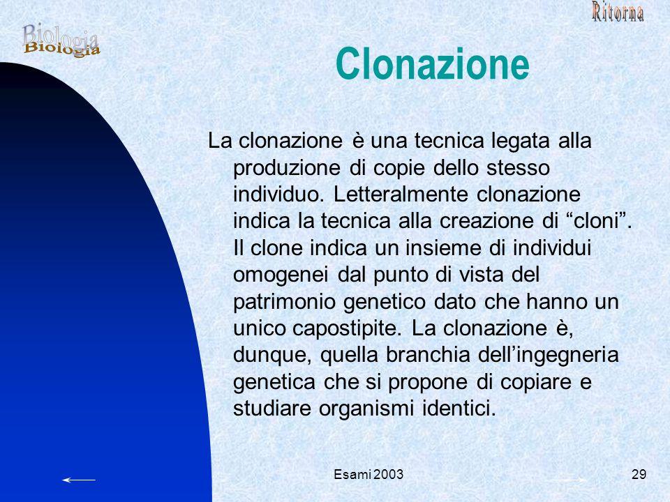 Esami 200329 Clonazione La clonazione è una tecnica legata alla produzione di copie dello stesso individuo.