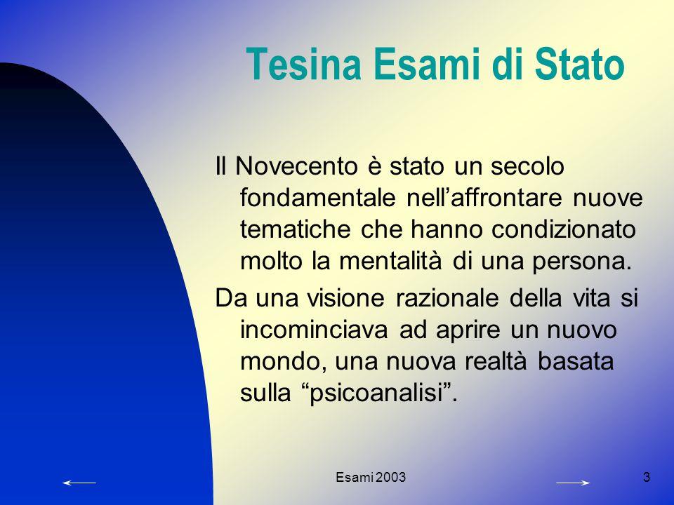 Esami 20033 Tesina Esami di Stato Il Novecento è stato un secolo fondamentale nell'affrontare nuove tematiche che hanno condizionato molto la mentalità di una persona.