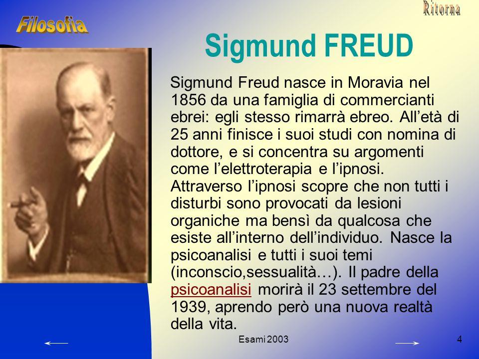 Esami 20034 Sigmund FREUD Sigmund Freud nasce in Moravia nel 1856 da una famiglia di commercianti ebrei: egli stesso rimarrà ebreo. All'età di 25 anni