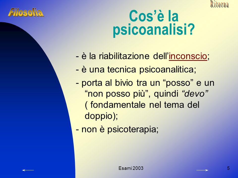 """Esami 20035 Cos'è la psicoanalisi? - è la riabilitazione dell'inconscio;inconscio - è una tecnica psicoanalitica; - porta al bivio tra un """"posso"""" e un"""
