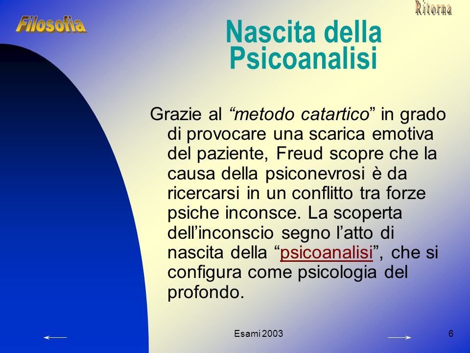Esami 20036 Nascita della Psicoanalisi Grazie al metodo catartico in grado di provocare una scarica emotiva del paziente, Freud scopre che la causa della psiconevrosi è da ricercarsi in un conflitto tra forze psiche inconsce.