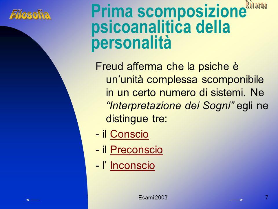 Esami 20037 Prima scomposizione psicoanalitica della personalità Freud afferma che la psiche è un'unità complessa scomponibile in un certo numero di sistemi.