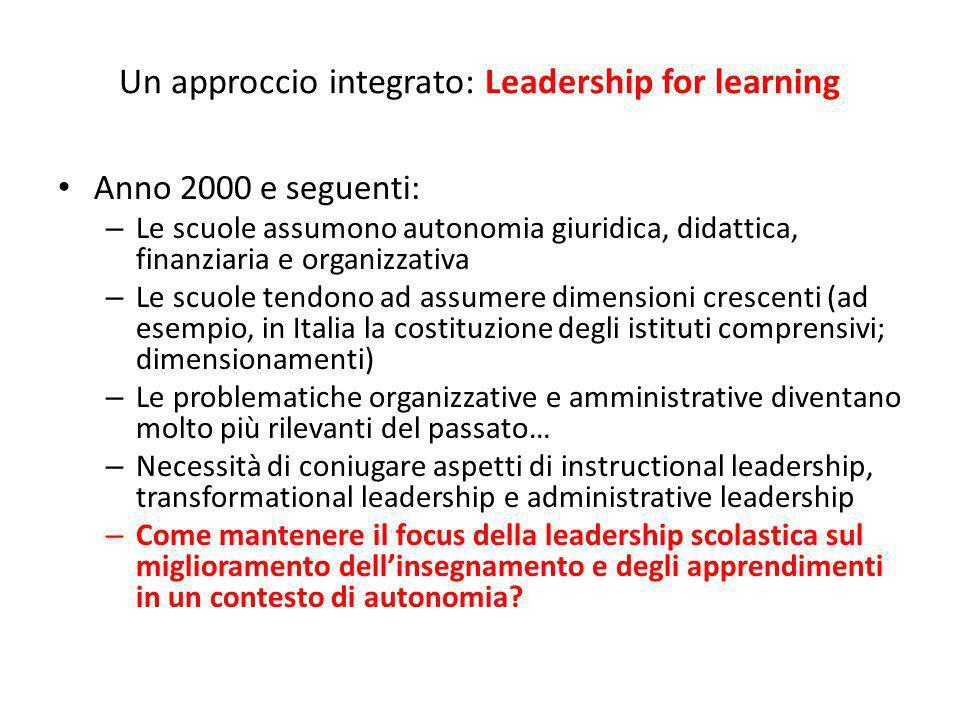 Un approccio integrato: Leadership for learning Anno 2000 e seguenti: – Le scuole assumono autonomia giuridica, didattica, finanziaria e organizzativa