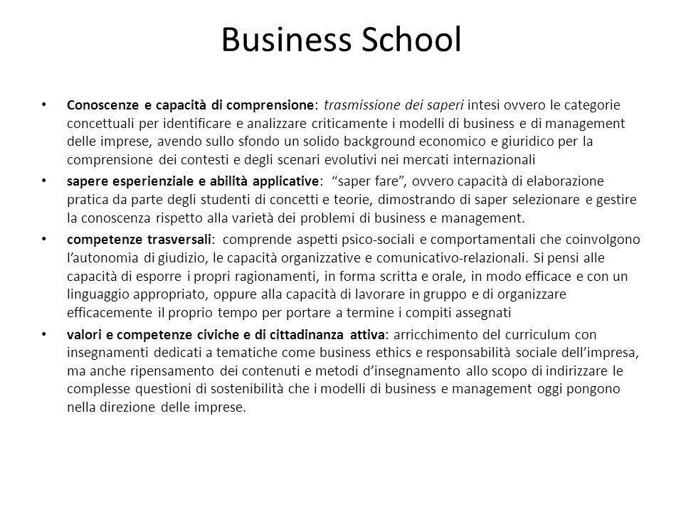 Business School Conoscenze e capacità di comprensione: trasmissione dei saperi intesi ovvero le categorie concettuali per identificare e analizzare cr