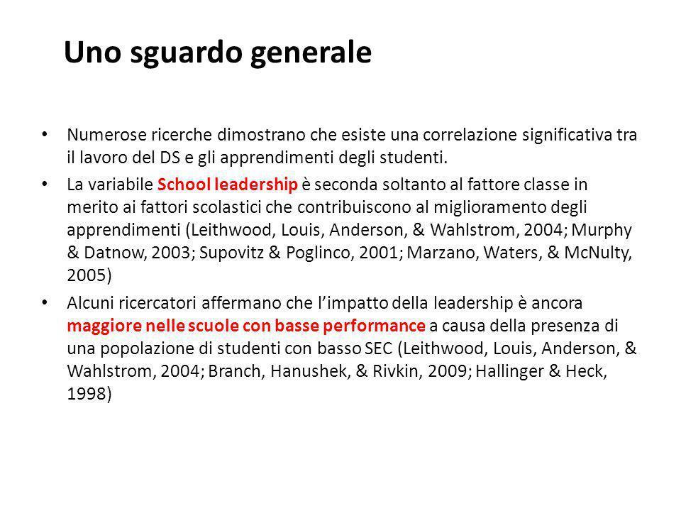 Uno sguardo generale Numerose ricerche dimostrano che esiste una correlazione significativa tra il lavoro del DS e gli apprendimenti degli studenti. L
