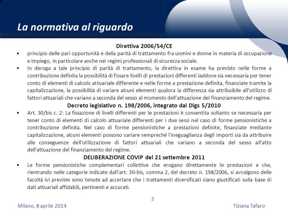 Milano, 8 aprile 2014Tiziana Tafaro 3 La normativa al riguardo Direttiva 2006/54/CE principio delle pari opportunità e della parità di trattamento fra uomini e donne in materia di occupazione e impiego, in particolare anche nei regimi professionali di sicurezza sociale.