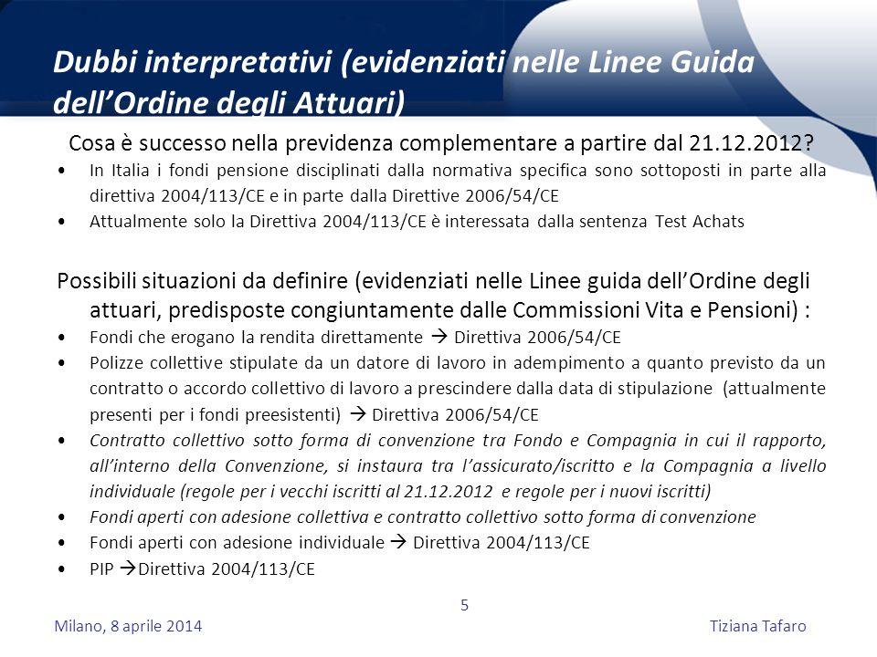 Milano, 8 aprile 2014Tiziana Tafaro 5 Dubbi interpretativi (evidenziati nelle Linee Guida dell'Ordine degli Attuari) Cosa è successo nella previdenza complementare a partire dal 21.12.2012.