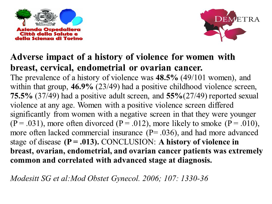 Adverse impact of a history of violence for women with breast, cervical, endometrial or ovarian cancer.