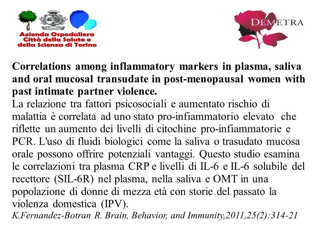 Correlations among inflammatory markers in plasma, saliva and oral mucosal transudate in post-menopausal women with past intimate partner violence. La